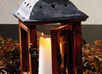 Charming Small Vintage Lake Lantern. Star-punched galvanized distressed metal top over wood base with glass windows.