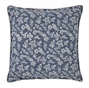 VHC Brands. Laketime Cottage Blues Euro Sham. Summertime cottage perfect. Floral on worn blue background. 100% cotton. 3-button closure.