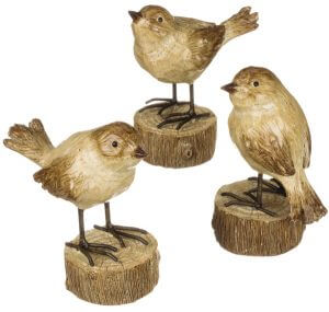 Charming Western Sparrow on a Pedestal. Sullivan Gift. Three different Sparrow poses. Real carved wood look. Made of cast resin. 4.25″ high