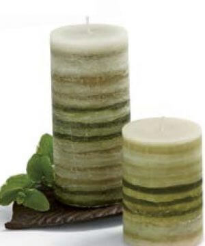 Green Strata Pillar Candle Lemongrass Verbena Scented green and white striped paraffin wax pillar candle. Burn Time: 72 hours.