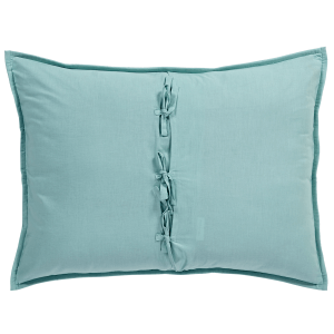 BT Home. Addison Standard Pillow Sham. Bohemian patterns of cool blue and serene green. Hand quilted with diamond quilting. 3-tie back closure. 100% soft cotton