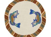 Cordwood Fish Round Table Mat. Jumping fish motif on white with earthy-colored striped border of tan, brown, and blue