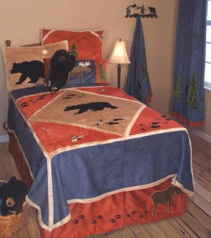Walking Bear Lodge Twin Bedding with attractive walking bear and wildlife tracks on the coverlet. Blue, tan and orange. Micro-fiber suede and faux shearling lining