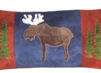 Lodge Throw Pillow. Moose image on deep blue background. Tall pines on side panels of burnt orange.
