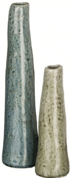 "Rippling Water Vases, Set of 2. Ceramic pottery, rippling curves in blue and green water hue. Distressed colorful exteriors. 7"" x 3"", and 11"" x 4"" -Set of Two"