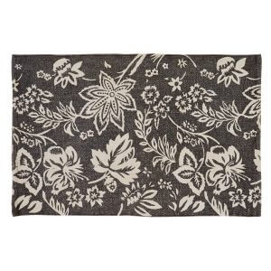 Lillian Charcoal Rug, White Floral Pattern on a charcoal background.