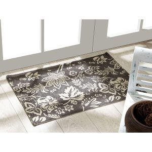 Lilliana Charcoal Rug, Lifestyle Pic white patterned floral on gray background