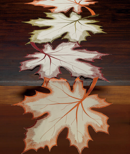 Falling Maple Leaves Autumn Rustic Farmhouse Home Decor Embroidered Kitchen Towel