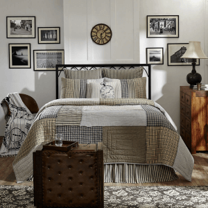 Ashmont Quilt Set, Tan Plaid with striped pattern