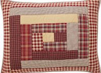 Braddock Standard Quilted Pillow Sham, Checkered Red and Gold Patterns on in rectangular quilted design.