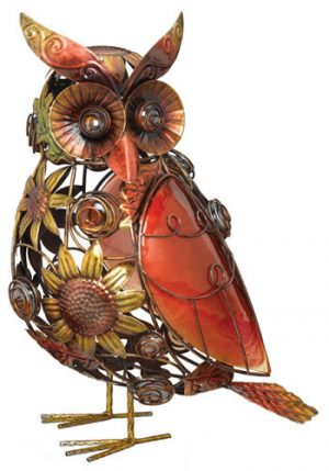 Sunflower Owl Decor made of metal and glass in sunflower motif in copper, orange and gold