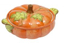 Ceramic orange Pumpkin Casserole Baker with Leaf Green Deco Leaves