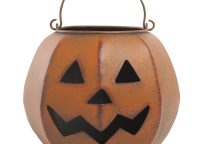 Short Rustic Jack-O-Lantern Pillar Holder