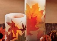 Flameless LED Autumn Leaves Pillar Candles