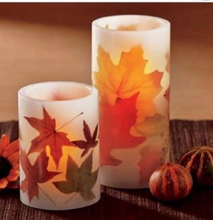 LED Autumn Leaves Pillar Candles