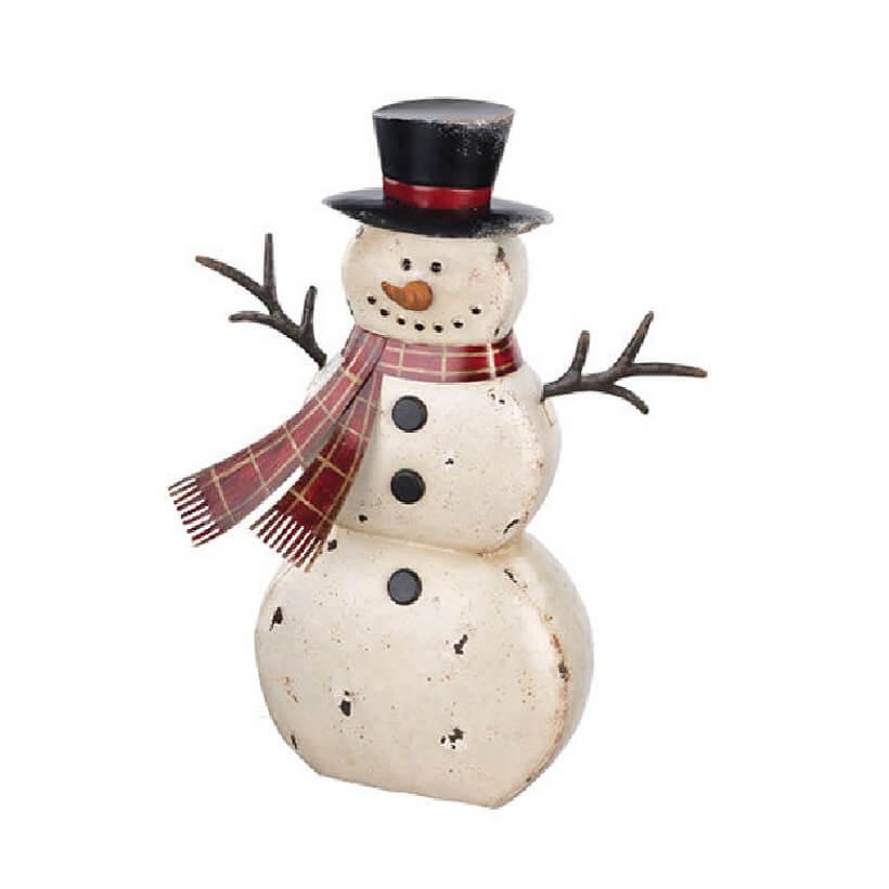 Small Rustic Metal Snowman Teton Timberline Trading