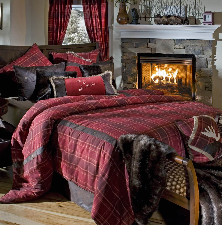 Highland Lake Plaid King Comforter Set Teton Timberline Trading