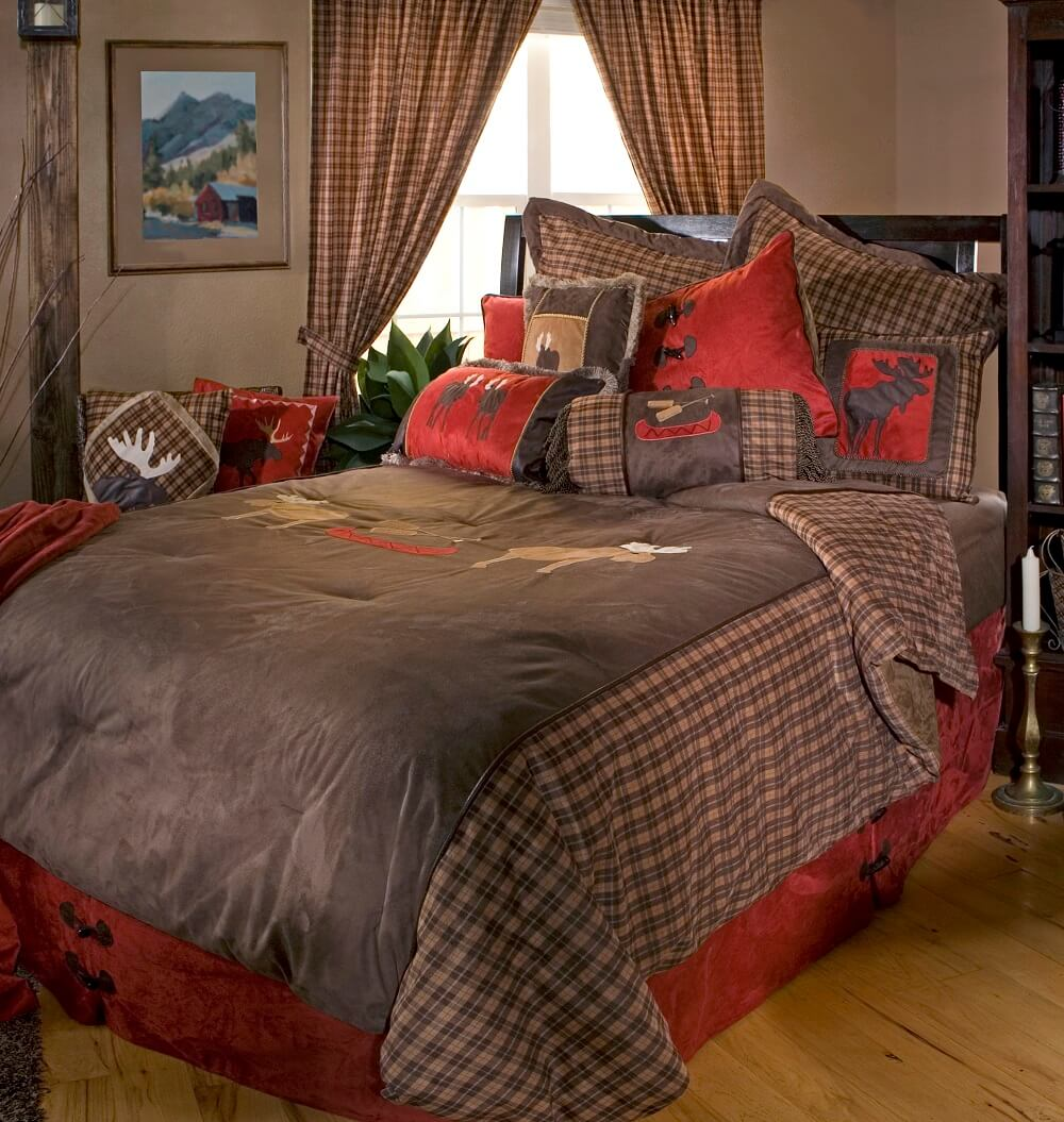 Moose Be Plaid King Comforter Set Teton Timberline Trading