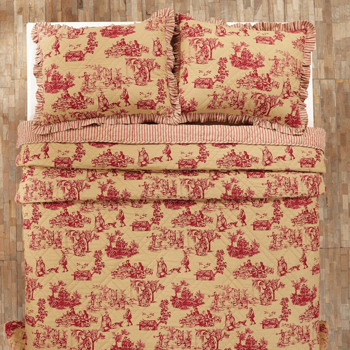 jacobean bedding p red dark quilt