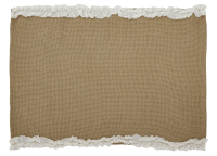 Burlap Natural and Creme Voile Ruffled Placemat Set