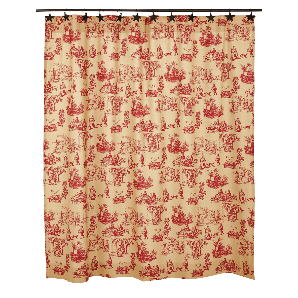 Elaine Rouge Toile Shower Curtain