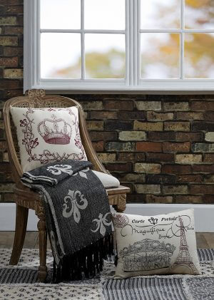 Elysee Stenciled Crown Pillow Cover