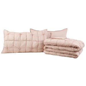 Camille Blush Pink Quilt Set Folded