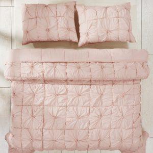 Camille Blush Pink Quilt Set Overhead