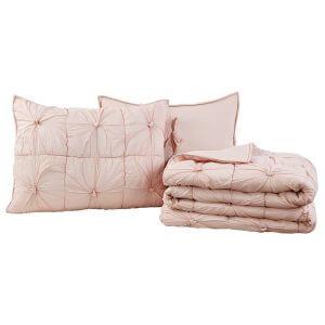 Camille Blush Pink Standard Quilt Set Folded