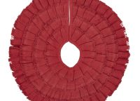 Red Burlap Ruffled Mini Tree Skirt