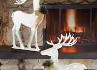 LED White Metal Reindeer Set