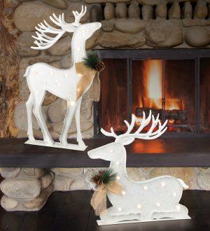 LED White Metal Reindeer Set
