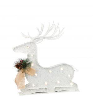 Sitting LED White Metal Reindeer