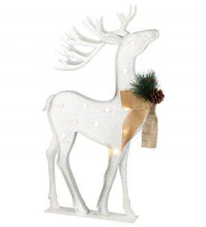 Standing LED White Metal Reindeer