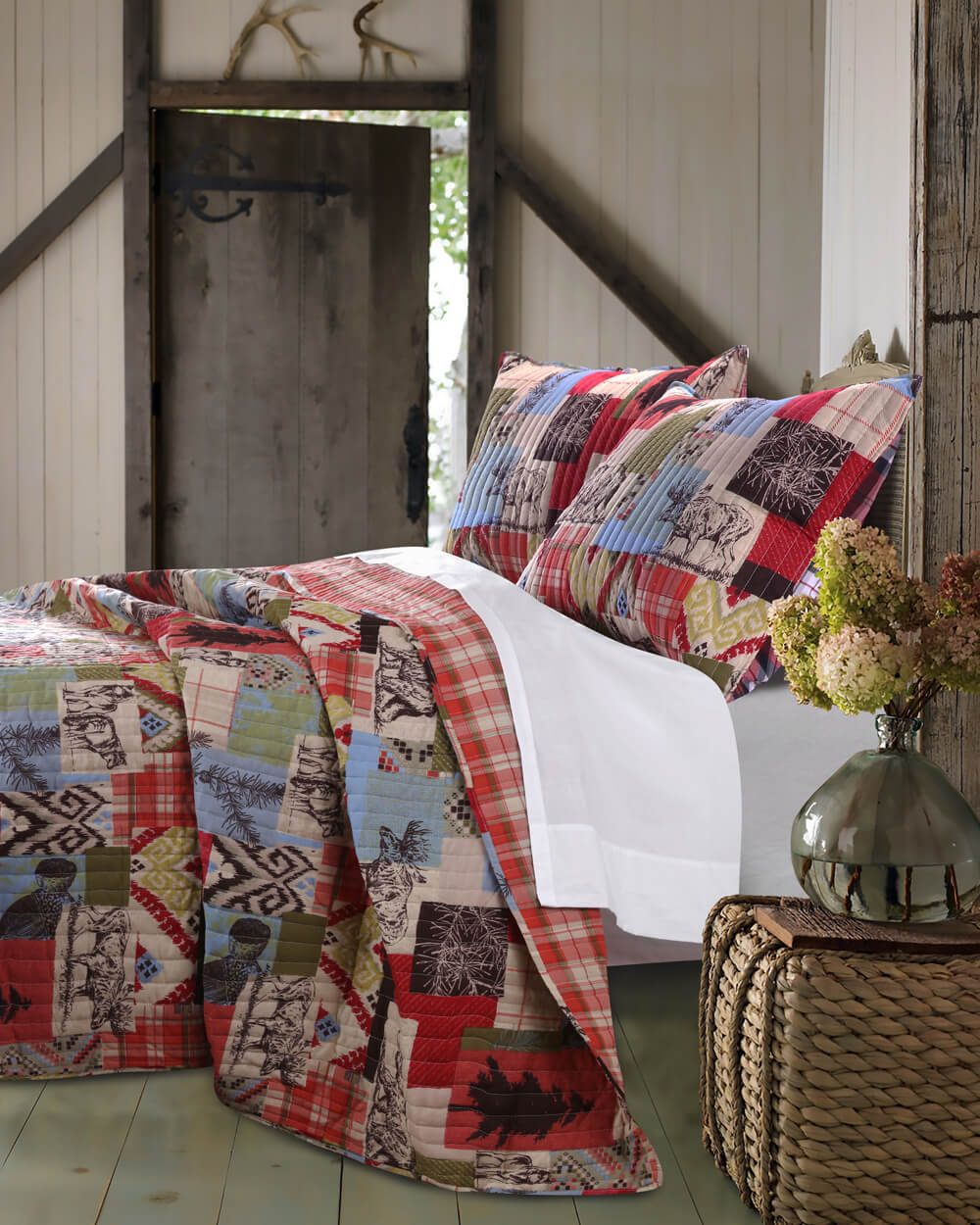 Rustic Boho Lodge Queen Quilt Set Teton Timberline Trading