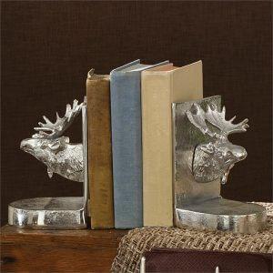 Silver Moose Bookend Set