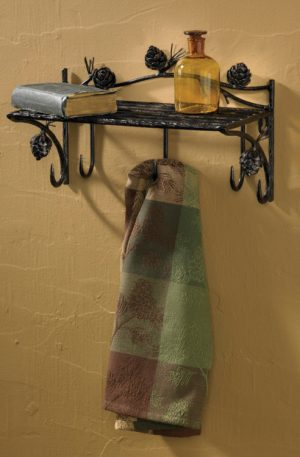 Pine Cone Lodge Iron Shelf