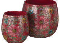 Red Floral Mosaic Planter Set