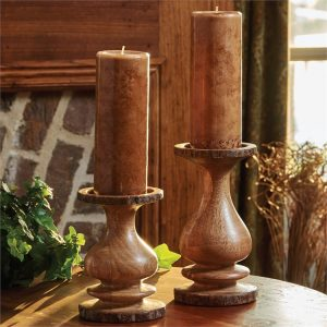 Bark Edged Large Wooden Candle Holder