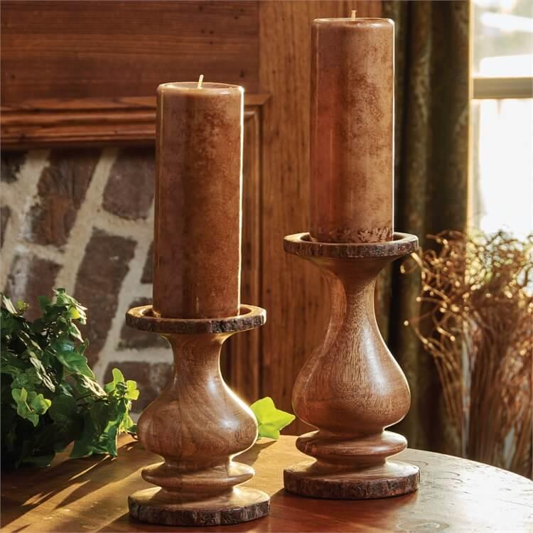 Bark Edged Small Wooden Pillar Candle Holder Teton