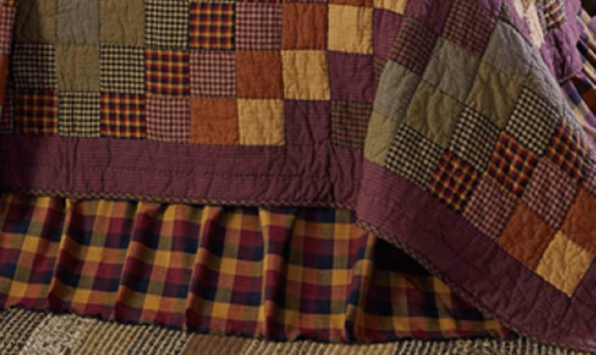 Primitive Check Twin Bed Skirt Teton Timberline Trading
