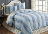 Lake Coast Blue Stripe King Duvet Cover