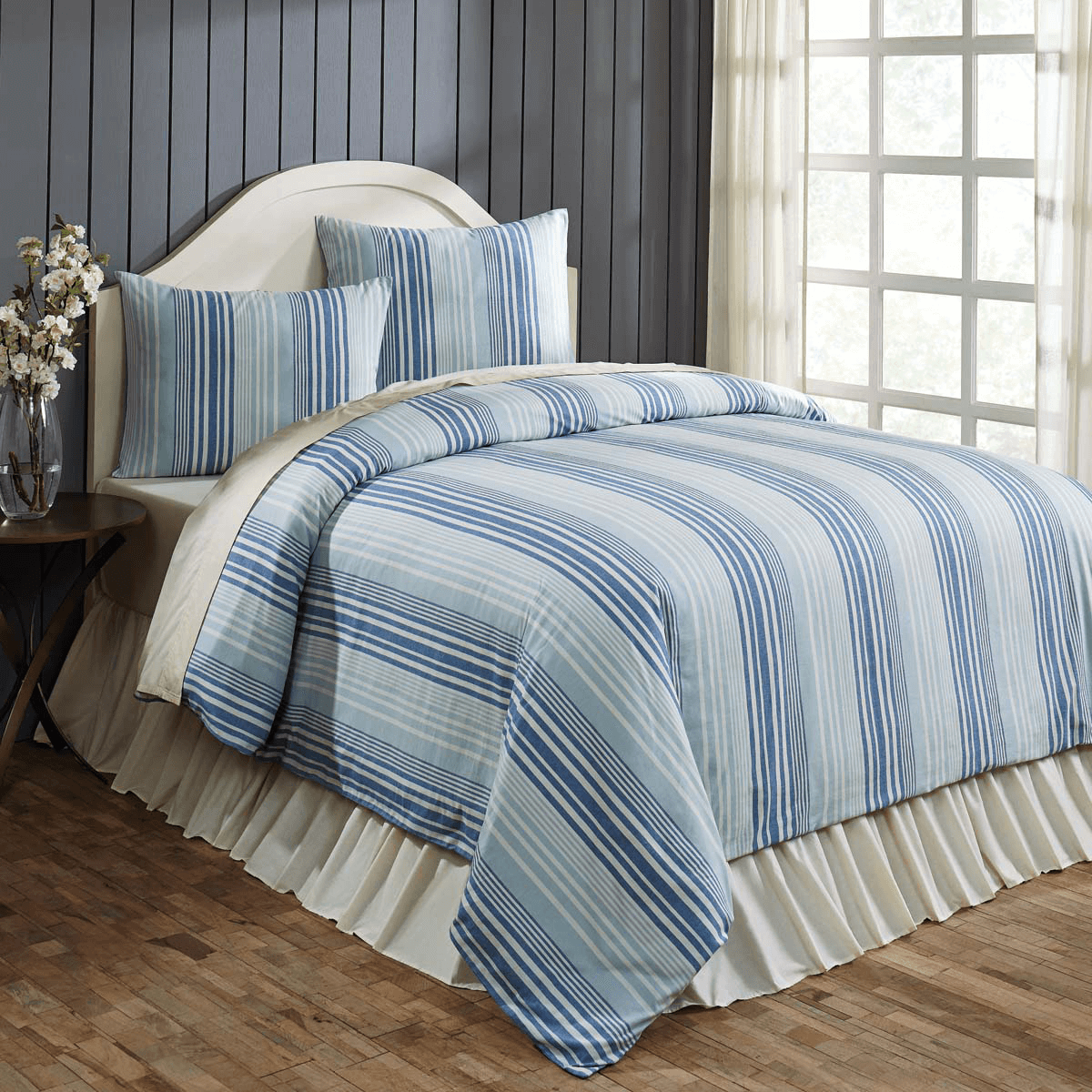 Lake Coast Blue Stripe King Duvet Cover Set Teton