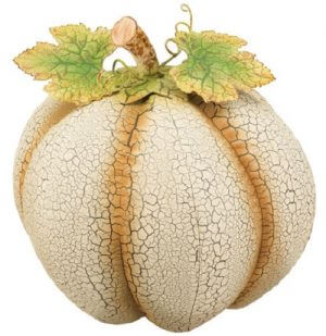 Large Rustic Ivory Metal Pumpkin