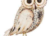 Snowy White Large Metal Owl