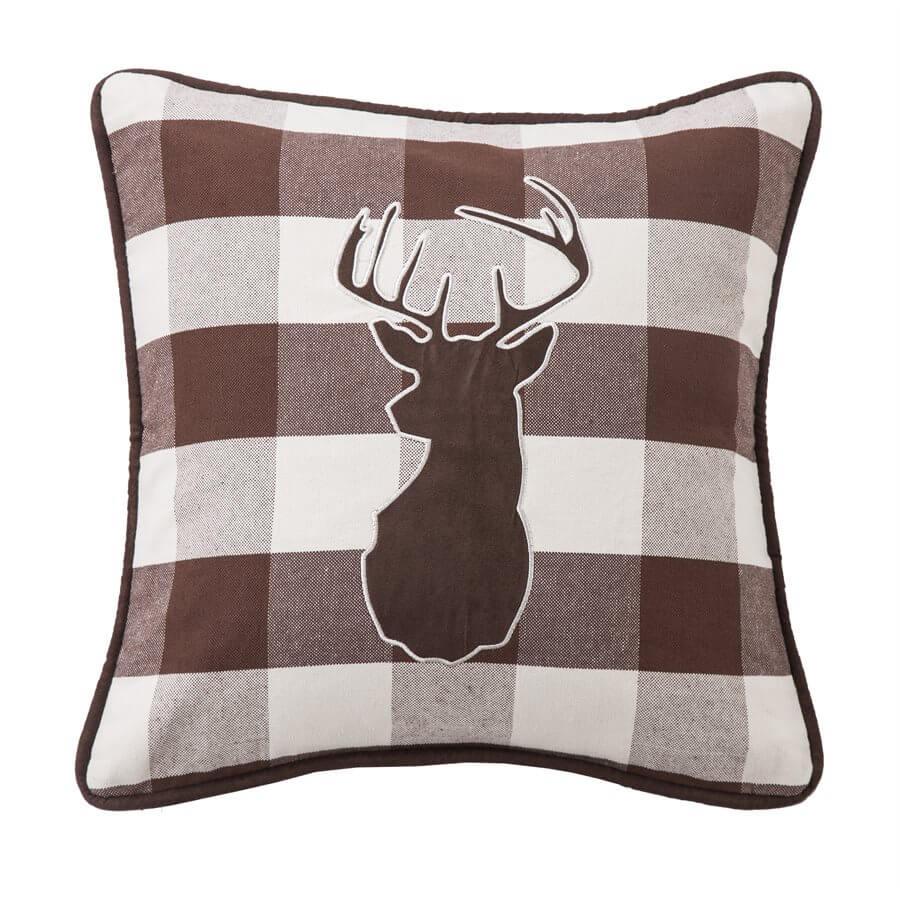 Stag Silhouette Plaid Throw Pillow Teton Timberline