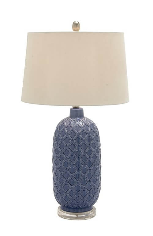 Slate Blue Trellis Ceramic Table Lamp Teton Timberline Trading