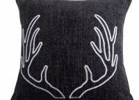 White Embroidered Antler Toss Pillow