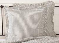 Hatteras Seersucker Blue Ticking Stripe Fabric Euro Sham