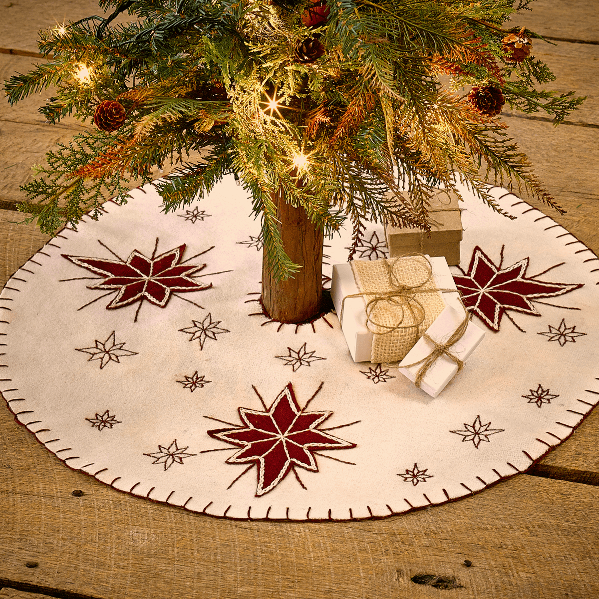 North Star Mini Tree Skirt - Teton Timberline Trading - Winter White ...